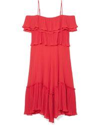 Halston - Cold-shoulder Plissé-georgette Dress - Lyst