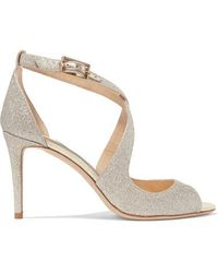 Jimmy Choo Emily 85 Glittered Leather Sandals - Metallic