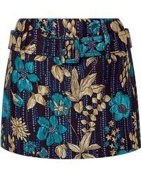 Prada - Cloqué Floral Motif Mini Skirt - Lyst