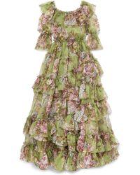 Dolce & Gabbana - Ruffled Tiered Floral-print Silk-chiffon Gown - Lyst