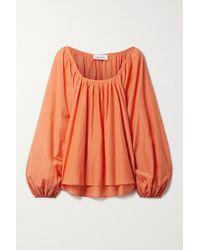 Matteau + Net Sustain Decolette Gathered Organic Cotton And Silk-blend Blouse - Orange