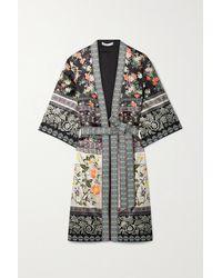 Alice + Olivia Flora Belted Embroidered Floral-print Satin Robe - Black