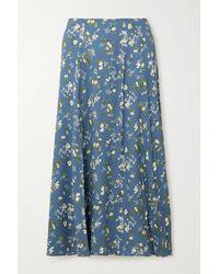 Reformation + Net Sustain Zoe Floral-print Crepe Midi Skirt - Blue
