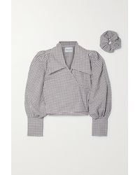 MaisonCléo + Net Sustain Julie Gingham Cotton-voile Wrap Top And Hair Tie Set - Brown