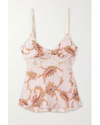 Paco Rabanne Lace-trimmed Paisley-print Satin Camisole - Pink