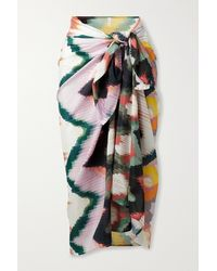 Eres Tournesol Printed Cotton And Silk-blend Voile Pareo - Green