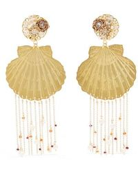 Mercedes Salazar Tropics Gold-tone, Resin, Crystal And Faux Pearl Clip Earrings - Metallic