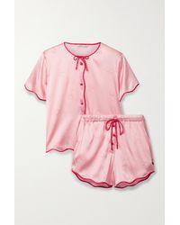 Morgan Lane Beatrice Tally Printed Silk-blend Satin Pyjama Set - Pink
