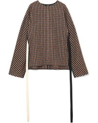 Derek Lam - Leather-trimmed Checked Wool-blend Tweed Poncho - Lyst