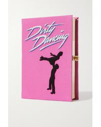 Olympia Le-Tan Dirty Dancing Embroidered Appliquéd Canvas Clutch - Pink