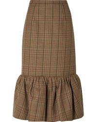 Michael Kors - Rumba Fluted Plaid Wool Midi Skirt - Lyst