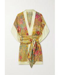 Carine Gilson Kimono En Satin De Soie À Imprimé Fleuri Et À Ceinture - Métallisé