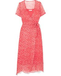 Cloe Cassandro - Kimi Printed Silk-crepon Wrap Midi Dress - Lyst