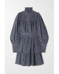 Anna Mason Mini-robe En Velours De Coton Côtelé À Volants Et À Ceinture Kasia - Bleu