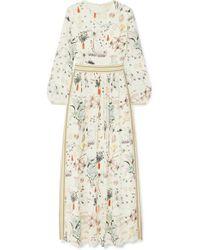 Tory Burch Floral-print Silk Crepe De Chine Maxi Dress - White