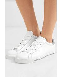 Rene Caovilla Crystal-embellished Leather And Suede Trainers - White