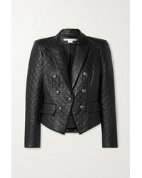Veronica Beard Cooke Dickey Quilted Leather Jacket - Black