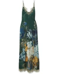 Carine Gilson - Chantilly Lace-trimmed Printed Silk-satin Chemise - Lyst