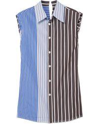 Marni - Panelled Striped Cotton-poplin Top - Lyst