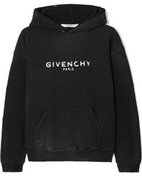 Givenchy - Distressed Printed Cotton-jersey Hoodie - Lyst