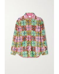 Ashish Checked Sequined Cotton Shirt - Pink