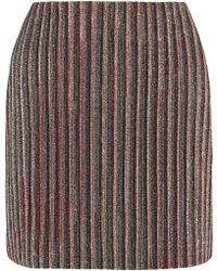 Emilia Wickstead - Striped Metallic Ribbed-knit Mini Skirt - Lyst