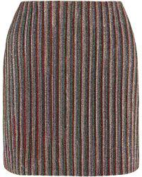 Emilia Wickstead | Striped Metallic Ribbed-knit Mini Skirt | Lyst