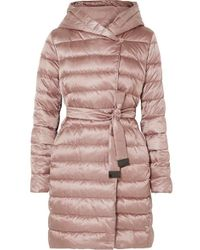Max Mara The Cube Hooded Belted Quilted Shell Down Coat - Pink