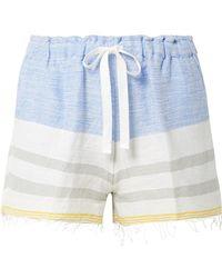 lemlem - Mimi Fringed Striped Cotton-blend Gauze Shorts - Lyst