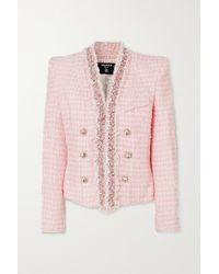 Balmain Blazer Aus Tweed Mit Verzierungen - Pink