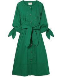 Jason Wu - Belted Cotton-blend Poplin Midi Dress - Lyst