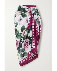 Dolce & Gabbana Pareo Aus Baumwoll-voile Mit Blumenprint Und Fransen - Weiß