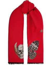 Alexander McQueen - Embroidered Wool-blend Scarf - Lyst