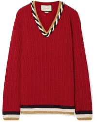 Gucci - Lurex-trimmed Cable-knit Wool And Cashmere-blend Sweater - Lyst