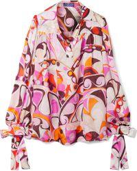 Emilio Pucci - Nigeria Printed Silk-chiffon Blouse - Lyst