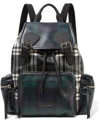 Burberry | Leather-trimmed Checked Coated-canvas Backpack | Lyst