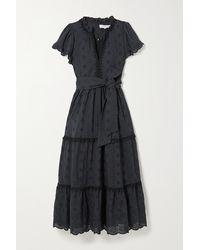 Lug Von Siga Sofia Belted Tiered Broderie Anglaise Cotton Midi Dress - Black