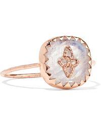 Pascale Monvoisin - Pierrot 9-karat Rose Gold, Moonstone And Diamond Ring Rose Gold 7 - Lyst