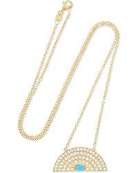 Andrea Fohrman - Rainbow Medium 18-karat Gold, Diamond And Turquoise Necklace - Lyst