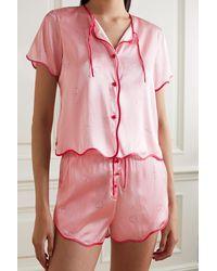 Morgan Lane Beatrice Tally Pyjama Aus Bedrucktem Satin Aus Einer Seidenmischung - Pink