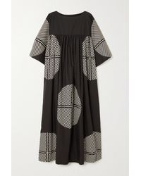 Louisa Parris Nora Gathered Printed Cotton-poplin Maxi Dress - Black
