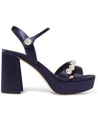 Miu Miu - Crystal-embellished Satin Platform Sandals - Lyst