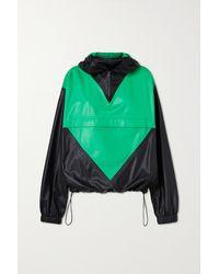Bottega Veneta Zweifarbige Lederjacke Mit Kapuze - Grün