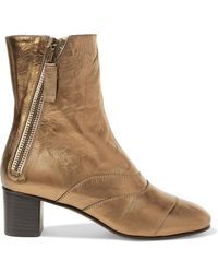 Chloé - Lexie Metallic Leather Ankle Boots - Lyst