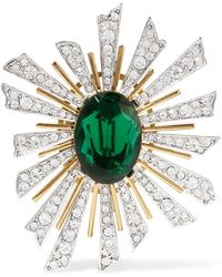 Kenneth Jay Lane - Gold And Rhodium-plated Crystal Brooch - Lyst