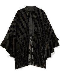 Anna Sui - Daisy Delight Satin-trimmed Flocked Chiffon Kimono - Lyst