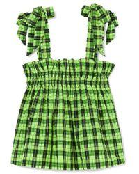 Ganni Neon Checked Cotton-blend Seersucker Top - Green