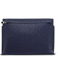 Loewe T Embossed Leather Pouch - Blue