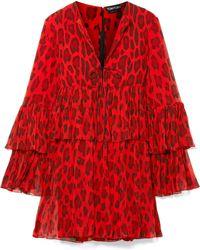Tom Ford - Tiered Leopard-print Silk-crepon Mini Dress - Lyst