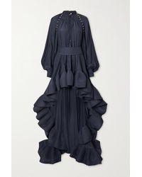 Lanvin Asymmetrische Robe Aus Crêpe Mit Gürtel Und Rüschen - Blau